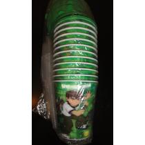 Souvenirs X10 Vasos De 250ml Ben 10 Tapa Y Sorbete