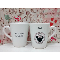 Souvenirs Tazas Mates Personalizados Mickey Minnie Kitty