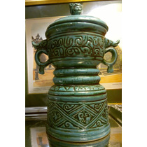 Antiguo Potiche Urna Ming Oriental En Color Turquesa Natural