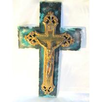 El Arcon Antiguo Crucifijo Bronce Y Vidrio Art Nouveau 265