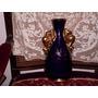 Florero Azul Cobalto Con Decoración De Oro Dorado A La Hoja