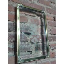 Cuadro Antiguo Marco De Bronce Y Cristal Esmerilado
