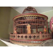 Antigua Jaula De Bambu Pintada A Mano Motivos Orientales