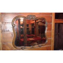Antiguo Espejo Biselado De Estilo Impecable Madera Tallada