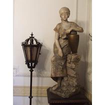 Magnìfica Estatua De Alabastro -mujer Con Càntaro !!