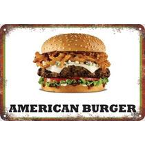 Carteles Antiguos De Chapa 60x40cm Burger Hamburguesa Al-048