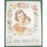 Antigua Tarjeta Ilustrada Dia De La Madre Flores Modelo1