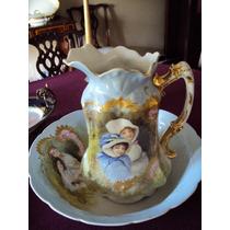 Bellisima Jarra Y Jofaina De Porcelana Limoges
