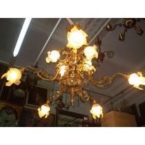Antiquísima Araña Francesa De 10 Luces Dorado Con Tulipas