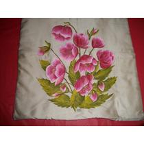 Almohadón Seda Pintado A Mano Floral 40 X 40 Retro/vintage
