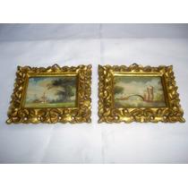 Miniatura Par Cuadros Oleo Europeo Coleccion Firmado(01207x)