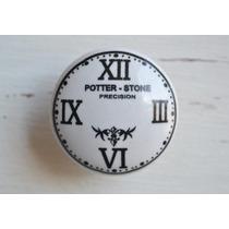 Tirador Perilla Puerta Cajón Cerámica Diseño Reloj Nº Romano