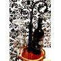 Decoración En Hierro C/ Base De Madera + Vino + Copa Cristal