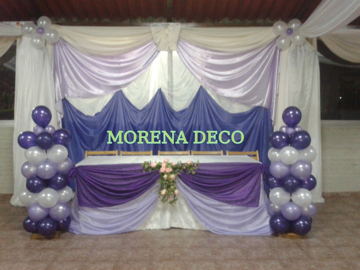 Pin kal dec decoraciones con globos telas pictures on for Decoracion con telas