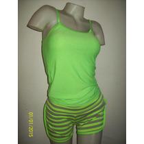 Conjunto Musculosa & Short Verde Y Gris T/mediano Alg/lycra