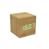 Cubo Reloj Led Despertador Madera Bambu Diseño Minimalista