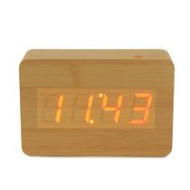 Reloj Led Despertador Aplaudis Y Enciende Madera Bambu