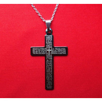 Dije Cruz Padre Nuestro + Cadena Acero 316l
