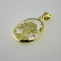 Medalla Arbol De La Vida Oval Con Cristal De Roca Oro 18 K