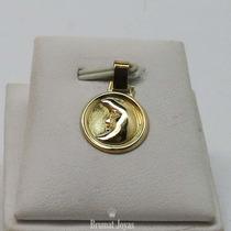Dije Medalla Oro Amarillo 18k Carita De Luna 0,8grs Brumat