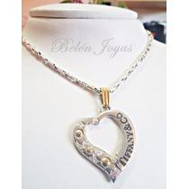 Cadena + Dije Tiffany En Plata 925 Y Oro 18k