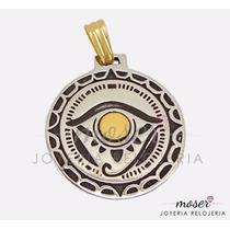 Medalla Egipcia Ojo De Horus Plata 925 Y Oro 18 Kts. Dv067