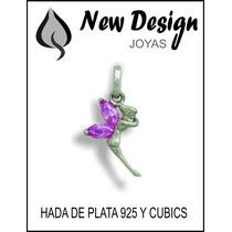 Hermosa Y Fina Hada En Plata Maciza 925 Y Cubics