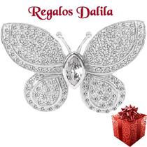Dije /prendedor Plata Rodinada Mariposa Con Cubics Miralo!!