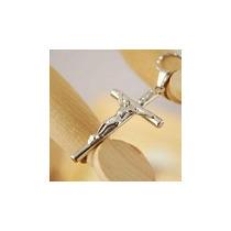 Cruz Plateada Cristo En Ella