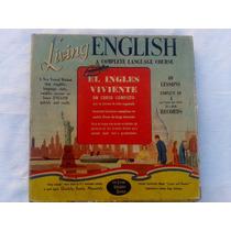 Curso Ingles Living English 4 Discos Vinilos.impecabe Estado