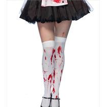 Medias Bucaneras Blancas Sangre Halloween Para Disfraz