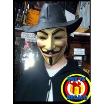 Anonimos Disfraz Completo 3 En Piezas! Capa, Mask Y Sombrero