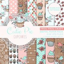 Kits Fondos Papeles Diseños Digital Cutie Pie Cupcakes