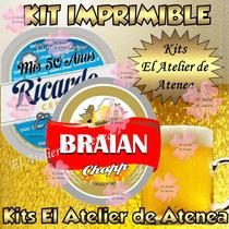 Kit Imprimible Etiquetas Bebidas Personalizadas Botellas 2x1