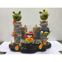 Adorno Para Torta Castillo Angry Birds En Porcelana Fria