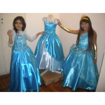 Disfraz Vestido Elsa Frozen, Barbie, Princesas Reales