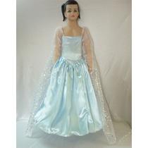 Disfraz Frozen Elsa Princesa Infantil Capa Desmontable