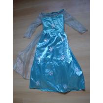Vestido Disfraz Nena Princesa Elsa Frozen Usado Divino T6