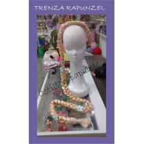 Trenza Rapunzel Extra Larga Con Flores Y Vincha Disfraz