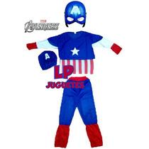 Disfraz Capitan America Avengers + Mascara Con Luz Led