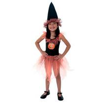 Halloween Disfraz Para Nenas Brujita Calabaza 3 Talles