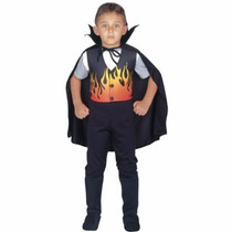Disfraz Vampiro Fuego Y Capa Varios Talles Halloween