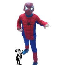 Combo Disfraz Hombre Araña Y Careta De Plástico Niños