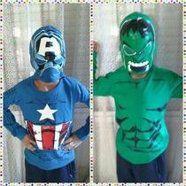Capitan America Camiseta Disfraz Capucha Mascara S. Heroe