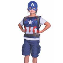 Disfraz De Capitan America Kit Mascara Y Pechera Original
