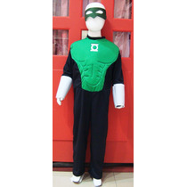 Disfraz Linterna Verde Con Musculos Super Héroe Para Nenes