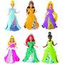 Set 6 Princesas Magiclip + 6 Vestidos Intercambiables Mattel
