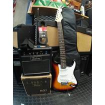 Kit Combo Guitarra Eléctrica Amplificador Cable Correa Funda