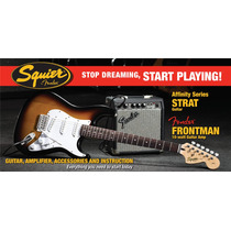 Pack Squier Affinity Guitarra Stratocaster Br+ampli Front10g