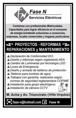 Electricista Matriculado, Reparaciones, Reformas Y Mantenim.